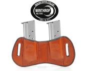 Dual OWB Bowtie Double Stack 9mm or 40 calibre Mag Holder Brown 0043