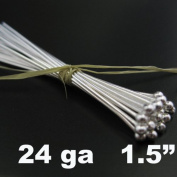 Sterling Silver Ball End Head Pins - 24 Gauge and 3.8cm Long
