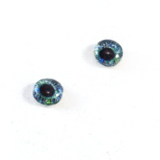 8mm Glass Eyes in Green and Blue Pair of Human Crafting Supply Flatback Cabochons for Doll Taxidermy or Jewellery Making