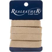 Realeather Crafts Suede Strip, 1.3cm by 90cm , Beige