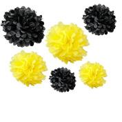 Somnr® Set of 12pcs Mixed 3 Sizes Yellow Black Tissue Paper Pom Poms Flower Wedding Party Baby Girl Room Nursery Decoration