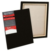 Tara T50179 Red Label 28cm . x 36cm . Standard Stretched Black Canvas - Pack of 6