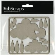 Fabscraps Die-Cut Clouds & Raindrops Chipboard Embellishments, 10cm by 11cm , Grey
