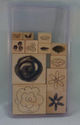 Stampin' Up! FLOWER FEST Set of 12 Decorative Rubber Stamps Retired