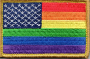 Rainbow US Flag hook and loop Backed Patch For LGBTQ Community and Supporters