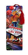 Dimension 9 3D Lenticular Bookmark with Tassel, Welcome to Fabulous Las Vegas Featuring Vegas Vic and Strip Icons