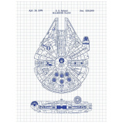 "Inked and Screened Sci-Fi and Fantasy ""Star Wars Millennium Falcon - 5030cm Design Art Poster Silk Screen Print, 22cm x 28cm , White Grid-Blue Ink"