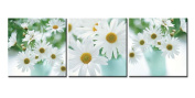 Canvas Print Wall Art Painting For Home Decor Floral Still Life Of White African Daisy Flower In Vase With Green Leaves On White Background Gerbera Daisy 3 Pieces Panel Paintings Modern Giclee Stretched And Framed Artwork The Picture For Living Room De ..
