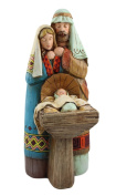 25cm Woodland Wood Cut Holy Family Nativity Tabletop Scene
