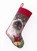 Himalayan Cat / Kitten with Bells Christmas Stocking, Wool Needlepoint, 28cm X 46cm