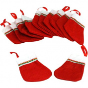 ~ 12 ~ Mini Christmas Stockings ~ Approx. 7.6cm + 2.5cm hanging loop ~ New