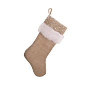 SARO LIFESTYLE H5773 Burlap Stocking, 33cm by 48cm , Natural