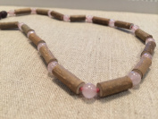 Hazelwood Necklace 16 Inch Pink Rose Quartz for Adult for Gut Issues; Eczema, Acid Reflux, Heartburn, and Ulcers. 100% Satisfaction Guaranteed. 41 Cm