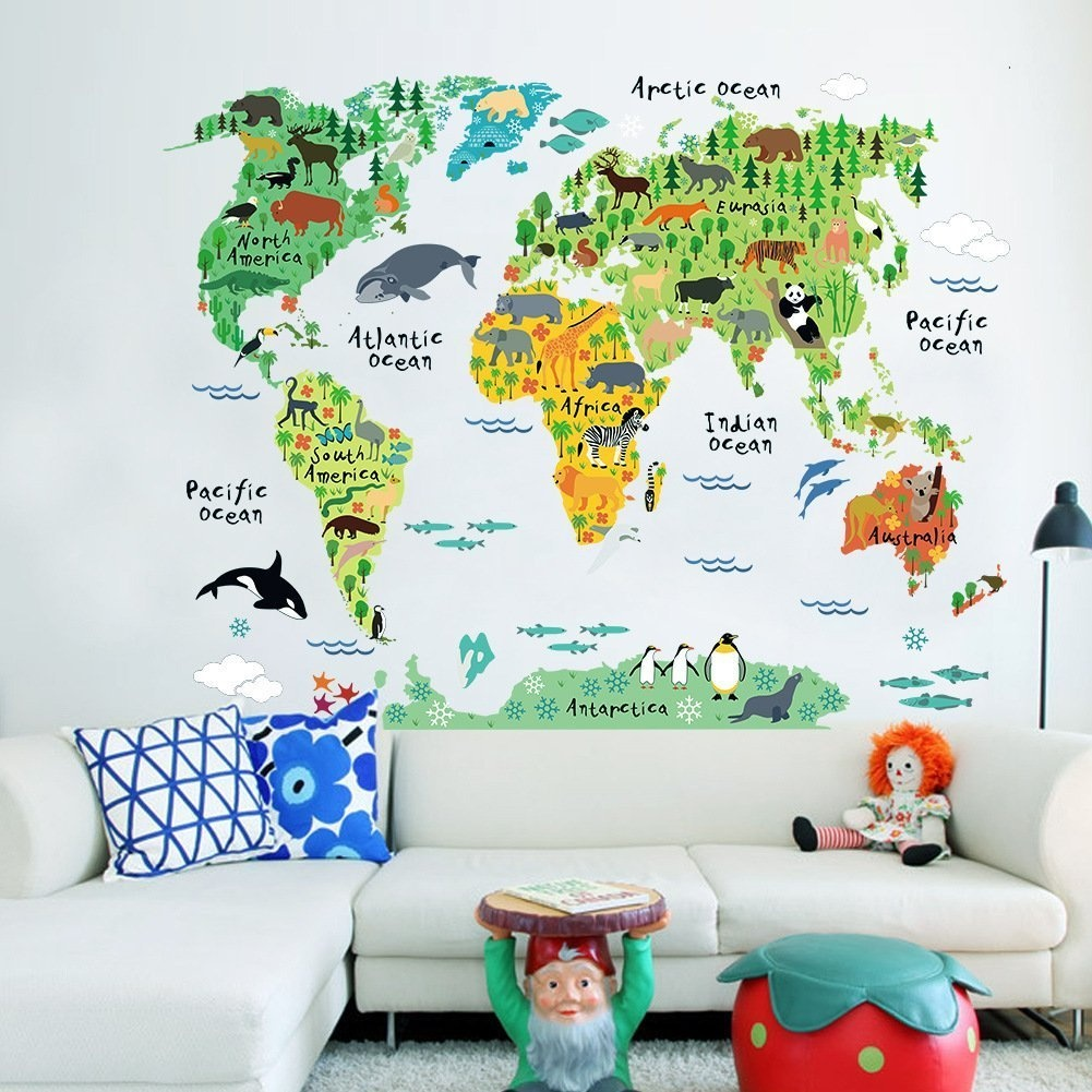 Btf Educational Animal World Map Wall Stickers Diy Removable Peel