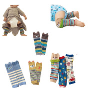 Lucky staryuan ® High Quality Set of 6 Combed cotton Baby Cartoon Bear Kneepads Socks Leg Protector Warmer