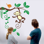 Little Monkey Grabbing a Tree Branch Vinyl Wall Decal for Kids and Nursery Room