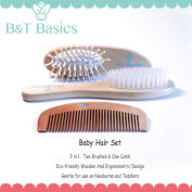 Baby Hair Brushes & Comb Set - 3 in 1 - Two Brushes & 1 Comb - Natural Wooden for Babies, Toddlers & Children