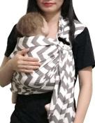 Vlokup Baby Ring Sling Carrier for Newborn Original Adjustable Infant Lightly Padded Wrap Breastfeeding Privacy 100% Cotton Grey Wave