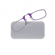 Thin OPTICS Stick Anywhere, Go Everywhere Reading Glasses plus Universal Pod Case, Purple Frame, White Case, 1.50 Strength