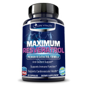 Maximum Resveratrol - Premium Extra Strength Formula - 1200mg Clinically Proven Proprietary Formula includes Resveratrol, Pomegranate, Green Tea, Grape Seed Extract, and Acai