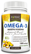 Potent Organics (Burpless) Omega-3 Fish Oil. Optimised EPA 860mg/DHA 430mg.180 Softgel Pills Infused With Lemon Oil.