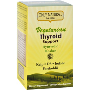 Only Natural Vegetarian Thyroid Support Kosher Vegi-Capsules, 60 Count