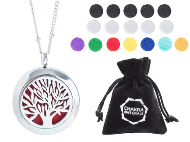 "Aromatherapy Necklace -Tree of Life Design -Essential Oils Diffuser Jewellery 25mm Diameter Surgical Stainless Steel Locket/ Pendant w/ 24"" Chain +17 Aromatherapy Refill Pads -in Silver Colour"