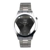 Stainless Steel Quartz Wrist Watch - Black Face