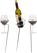 Trademark Innovations Metal Wine Stakes for 2 Wine Glasses and Wine Bottle, Black
