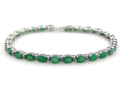 Sterling Silver Jewellery Collection : 10.50ctw Genuine Emerald Ovals & .925 Sterling Silver Bracelet