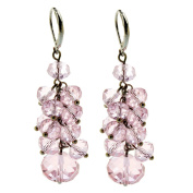Ginasy Spring Colourful Cluster Crystal Glass Beads Dangle Earrings Beaded Linear Drop Earrings