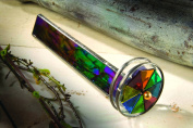 J Devlin Kal 110 Double Wheel Kaleidoscope Black Iridescent Stained Glass Gift for Dad