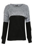 Womens Ladies Chunky Knitted Contrast Block Long Sleeves Round Neck Baggy Oversized Pullover Warm Jumper Sweater Top UK Sizes 8-22