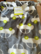 Super Soft Grey and White Car Baby Blanket 30x40 in