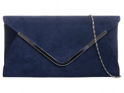 Navy Blue Envelope Clutch Bag, Dark Blue Faux Suede Evening Bag with Silver Tone Metal Trim, Ladies Prom Shoulder Bag, Wedding Handbag