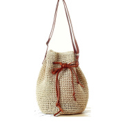 FAIRYSAN Women Straw Shoulder Bag Drawstring Bucket Bag Woven Shopping Bag Summer Beach Bag
