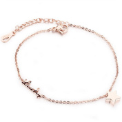 Dazzle Flash stainless steel rose gold plating cute little star charm anklets bracelet B222-5