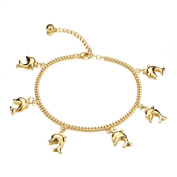 3Aries 18k Gold Plated Adjustable Foot Chain Glossy Cute Dolphin Pendants Party Girls/Women Anklet Bracelets 20cm +5.5cm