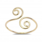 RS JEWELS 18K Yellow Gold Plated 925 Sterling Silver Bypass Spiral Adjustable Toe Ring For Womens