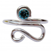 Sterling Silver 925 Adjustable Spiral Curved Toe Ring With Topaz Gem Stone