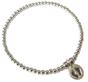 Sterling Silver Ball Bead Bracelet with Baby Feet Imprint Charm