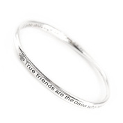 "GIFT BOXED ""True Friends"" Silver Quote Bangle"