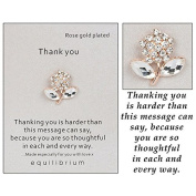 """Equilibrium Rose Gold Plated """"Thank You""""Sentiment Pin"""