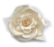 Brooch Flower Satin Tulle, Beige.