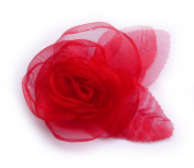 Red Organza Flower Brooch.
