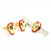Covink® Iron Man Red and Gold Cufflinks Tie Clip Set Men's Cuff Links Marvel Comics