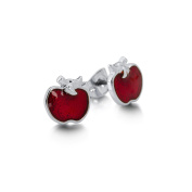 Disney Couture White Gold-Plated Red Enamel Poison Apple Stud Earrings