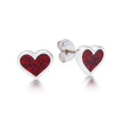 Disney Couture Alice in Wonderland White Gold-Plated Red Queen Heart Stud Earrings