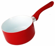 Buckingham Ceramic Coated Non-Stick Induction Milk Pan 14cm Red with Soft Grip Handle and Double Pouring Lip