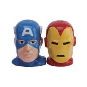 Captain America and Iron Man Heroes Salt and Pepper Shakers Set Ceramic